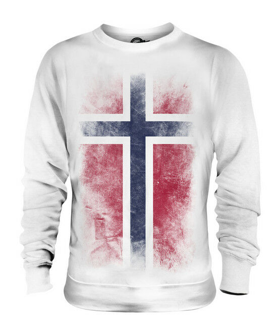 NORWAY FADED FLAG UNISEX SWEATER TOP NOREG NORWEGIAN NORGE SHIRT FOOTBALL