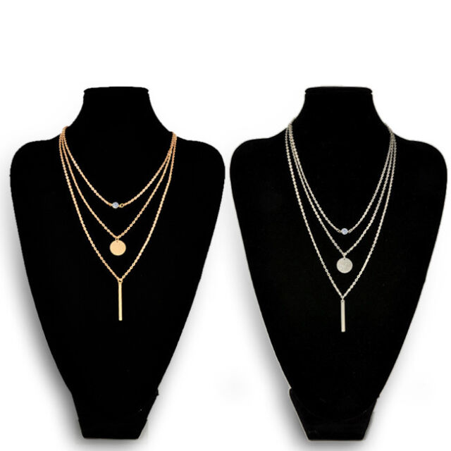 New Women Charms Crystal 3 Layers Simple Silver/Gold Chain Pendant Necklace Gift