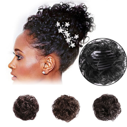 Women Messy Curly Wave Hair Bun Extension Hairpiece Scrunchie Tray Styling Acces
