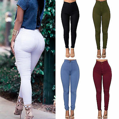 Sexy Women Denim Skinny Pants High Waist Stretch Jeans Slim Pencil Trousers New