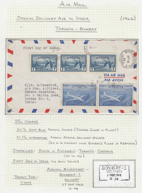 CANADA 1946 2x17C SPECIAL DELIVERY AIRMAIL COVER TORONTO TO BOMBAY INDIA