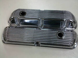 SBF-Ford-289-302-351W-Finned-Aluminum-Valve-Covers-With-Holes-Fits-Mustang