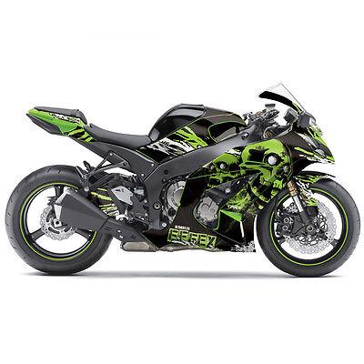 FX Skull Sport Bike Pre-Cut Graphics Wrap Kit For Kawasaki Ninja 300 13-14 Green