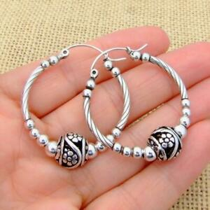 Large-Chunky-Bali-Style-Sterling-925-Silver-36mm-Bead-Hoop-Sleeper-Earrings