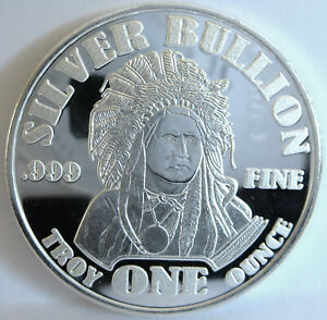 999-FINE-SILVER-034-BULLION-034-AMERICAN-INDIAN-CHIEF-BUFFALO-1-TROY-OZ-ART-ROUND