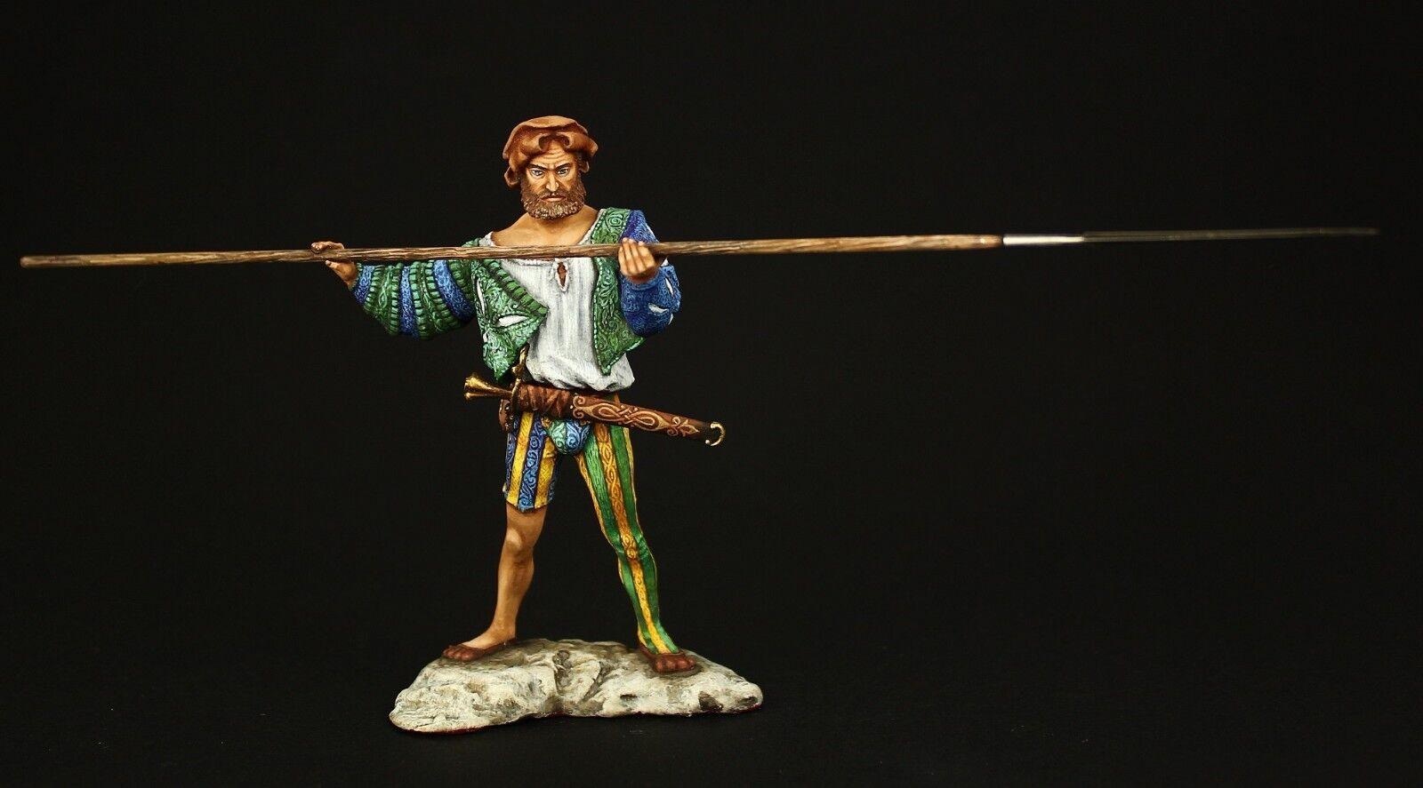 ELITE TIN SOLDIER  European Landsknecht med Pike 90,metall skulptur.