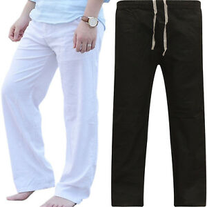 Men-Cotton-Sport-Wide-Leg-Pants-Beach-Drawstring-Yoga-Long-Slacks-Loose-Trousers