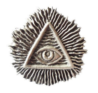 ALL SEEING EYE ENGLISH PEWTER LAPEL PIN BADGE ILLUMINATI MASONIC