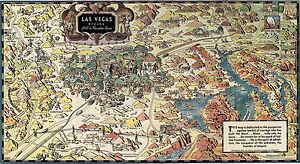 Historical Map of Las Vegas Nevada Still a Frontier Town Boulder Dam ...