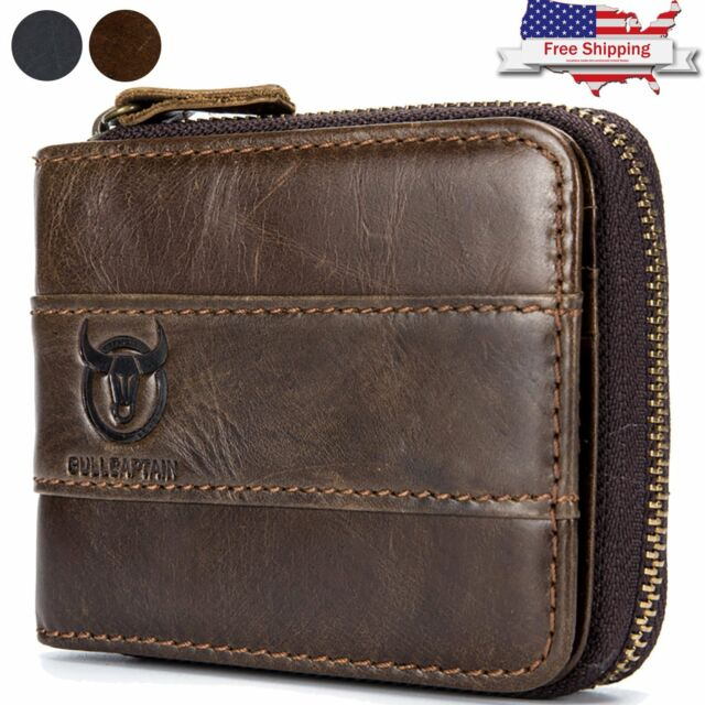b5c199d05c00 Mens Genuine Leather Wallet RFID Blocking Zip Around ID Card Window Bifold  Purse