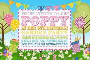 GARDEN PARTY INVITATIONS 10 PERSONALISED BUNTING BIRTHDAY