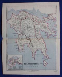 Original Antique Map Greece Peloponnese Sparta Salamis Weller