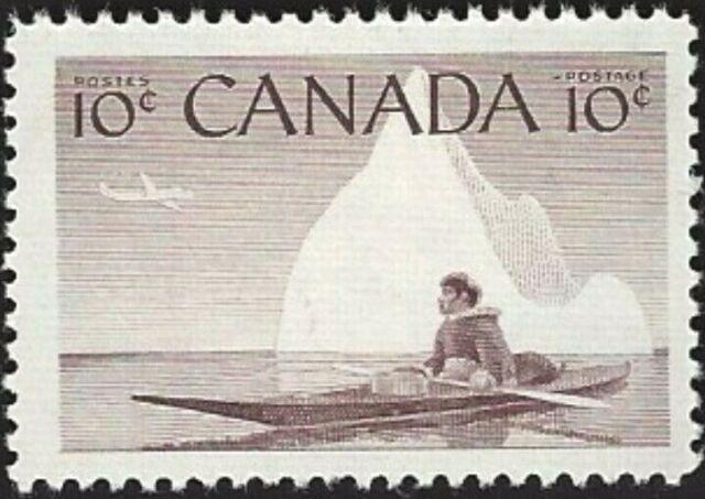 Canada  # 351   ESKIMO HUNTER     Brand New 1955 Original Pristine Gum Issue