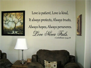 Image is loading Love-is-patient-kind-protects-Corinthians-13-45- & Love is patient kind protects Corinthians 13:45.78 Vinyl Wall Art ...