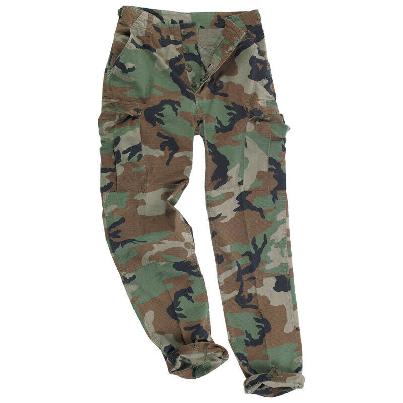 BDU ARMY RIPSTOP COMBAT TROUSERS MENS PANTS MILITARY US WOODLAND CAMO   S-XXL
