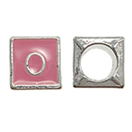 O Pink Initial Letter O Silver 7mm Cube Large 5mm Hole European Charm Bead 1pc