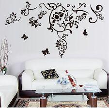Negro Mariposa Flor extraíble Pared Adhesivo Decoración Arte Calcomanías Mural Hogar