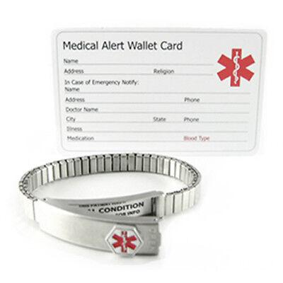 "Expandable 6.5"" Ladies Watch Band, Steel Medical ID Alert Bracelet"