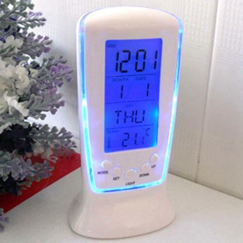 Modern LCD Digital Alarm Clock Calender LED Display Battery Powered For Bedroom