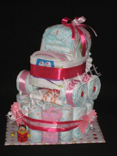 Windeltorte Kinderwagen mit Namensanhänger Geschenk zur Geburt Baby Taufe