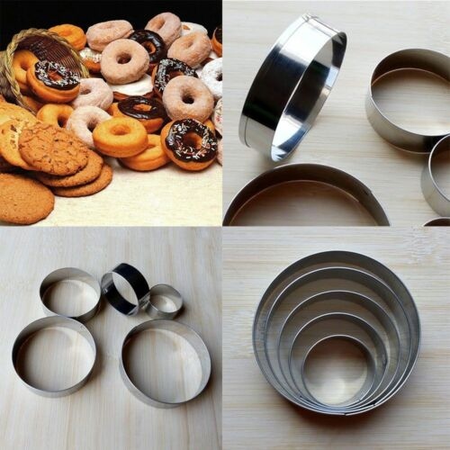 5 Pcs Round Circle Stainless Steel Cookie Cutter Set Biscuit Cookies Pastry Mold