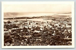 Honolulu-HI-RPPC-Churches-Neighborhoods-Downtown-Shops-Factory-Smokestacks-c1928