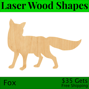 Fox Head Laser Cut Out Wood Shape Craft Supply Unfinished