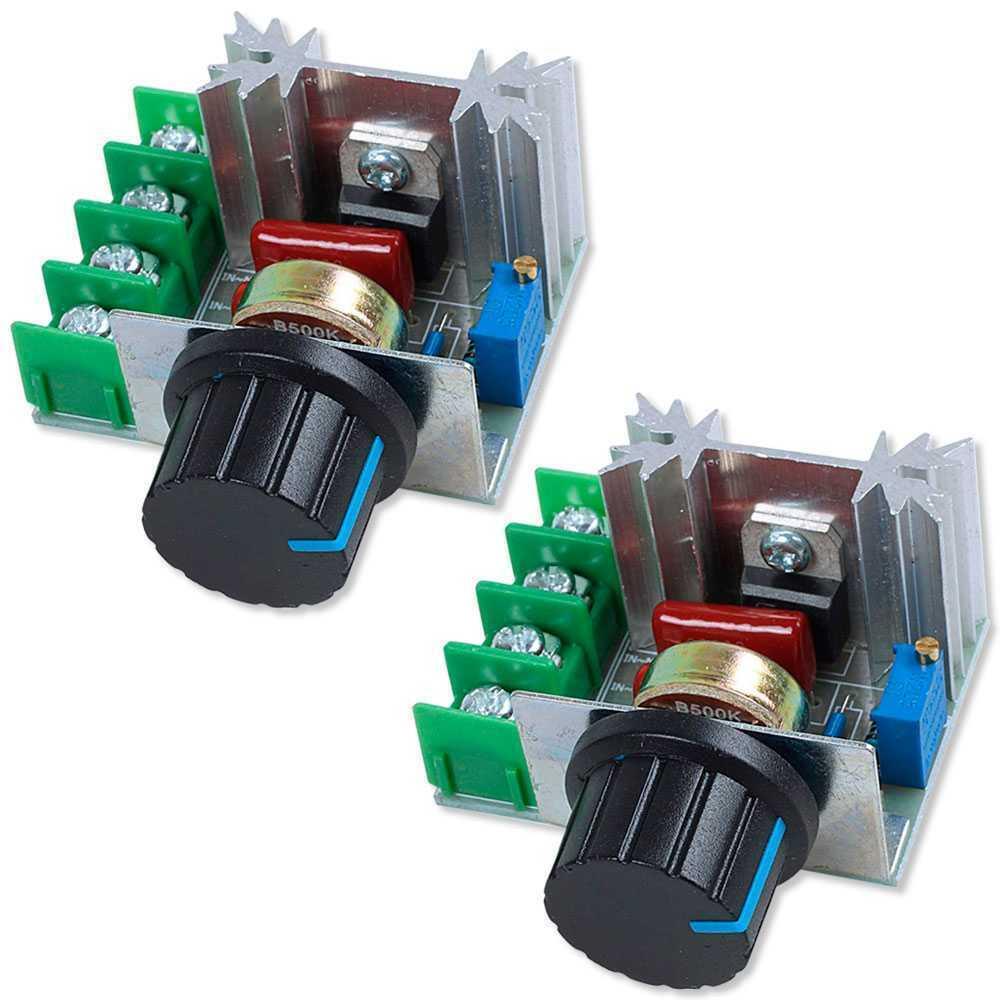 2x Regulador de Motor Ventilador Temperatura Tensión Eléctrica AC 220V 2000W