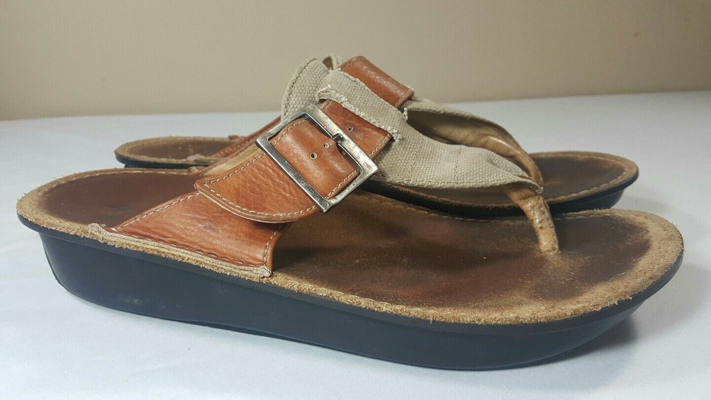 Wolky 11 Sandals Leather Thong Brown Women's US 11 Wolky Flip Flop Slide Flat ebc365