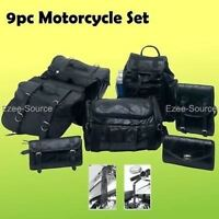 9pc Premium Quality Motorcycle Saddlebags Luggage Grip Lever Covers Travel Set