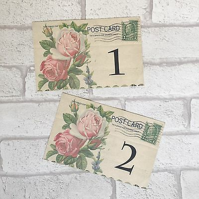 Wedding Table Cards Vintage Style Postcards - Shabby Chic, Numbers Names Rose