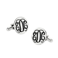 Personalized 3 Initials Monogram Cufflinks in 925 Sterling Silver