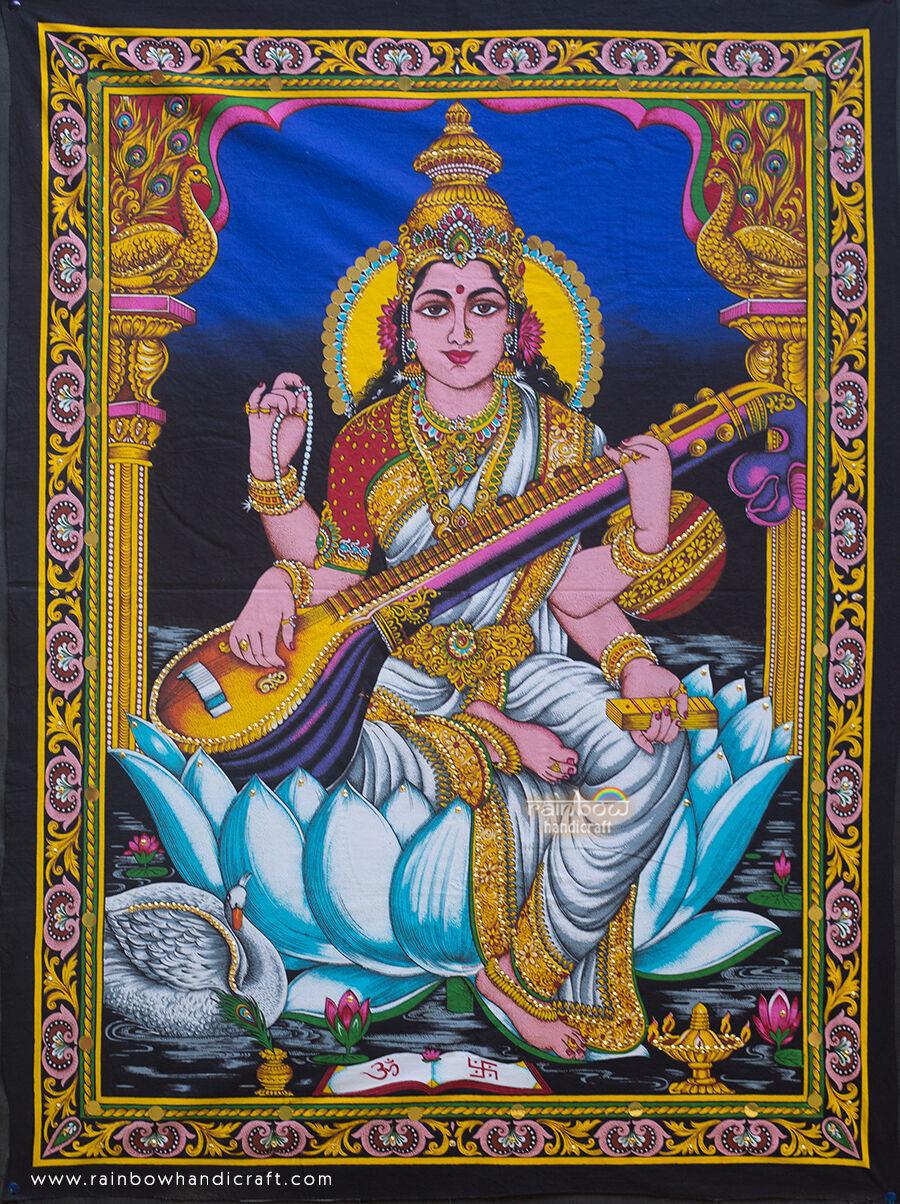 Hindu Goddess Saraswati Sequin Wall Hanging Zari Tapestry