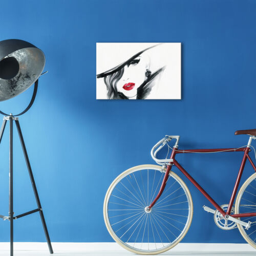 Black White Red Retro Woman Modern Canvas Wall Art Large Picture Prints