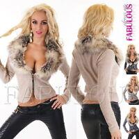 New Sexy Women's Faux Fur Jacket Jumper Sweater Short Cardigan Size 10-12 M L