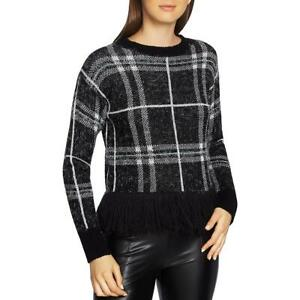 1-State-Womens-B-W-Eyelash-Plaid-Fringe-Pullover-Sweater-Top-XXS-BHFO-7658