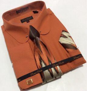 26de8f208d Men's Bruno Conte French Cuff RUST Dress Shirt Tie Hankie Set ...