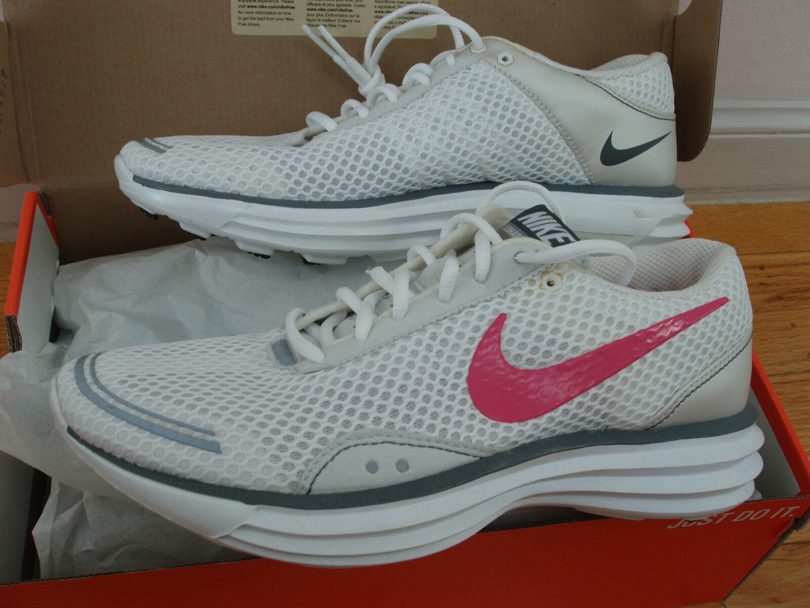 NEW in box Nike LunarTrainer womens 7.5 8 8 8 lunar trainer running shoes white pink 50554b