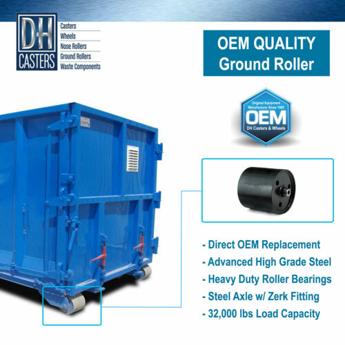 """DH Casters 8.75/"""" x 8.25/"""" Ground Roller Roll-Off Container Dumpster Bin 8x8 1"""