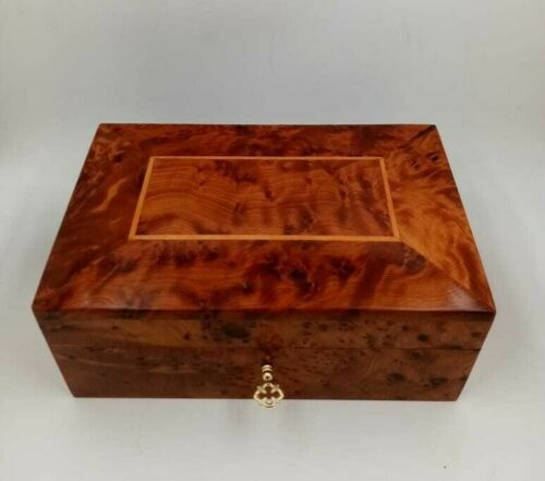 Wooden Jewelry Box Made Of Thuya Burl,Lockable Chest Box With Two Storage Level