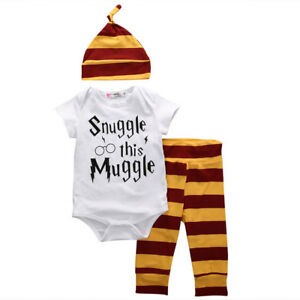 NEW-Snuggle-This-Muggle-Baby-Boys-Short-Sleeve-Bodysuit-Pants-Hat-Outfit-Set