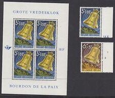 BELGIUM : 1963 Peace Bell set + Min Sheet SG 1842-3 + MS1844 MNH