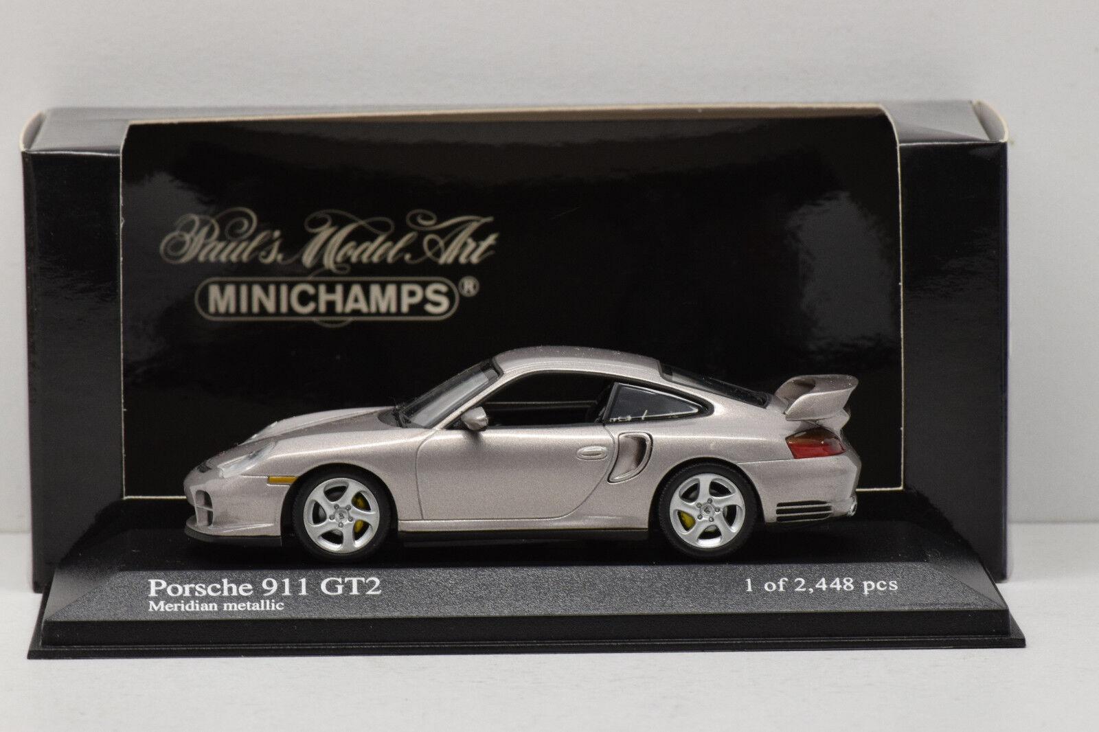 PORSCHE 911 GT2 gris METALLIC 2001 MINICHAMPS 1 43 NEUF EN BOITE