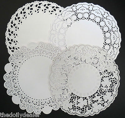 """ASSORTED 22CM OR 8.5""""  EMBOSSED WHITE PAPER LACE DOILIES COLLECTION  X 24"""