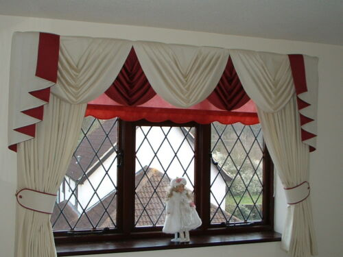 "CURTAINS  FITS 61/"" to 105/"" Wide UP TO 89/""Drop GREY SWAGS AND TAILS SETS"