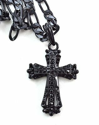 ICED OUT CZ Black Jet Cross BLING HIP HOP PENDANT 24''CHAIN JEWELRY NECKLACE #j5