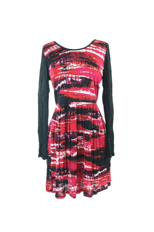 100% QualitäT Kensie Neu Heather Magenta Langarm Wasserfall-ausschnitt A-linie Kleid