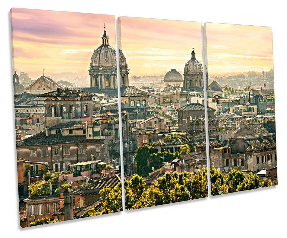 Rome  Stadtscape CANVAS Wand Kunst TREBLE Box Frame Drucken