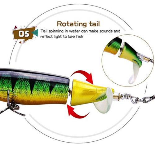Whopper Popper Floating Rotating Tail Fishing Lure Bass Bait Crankbaits 11cm