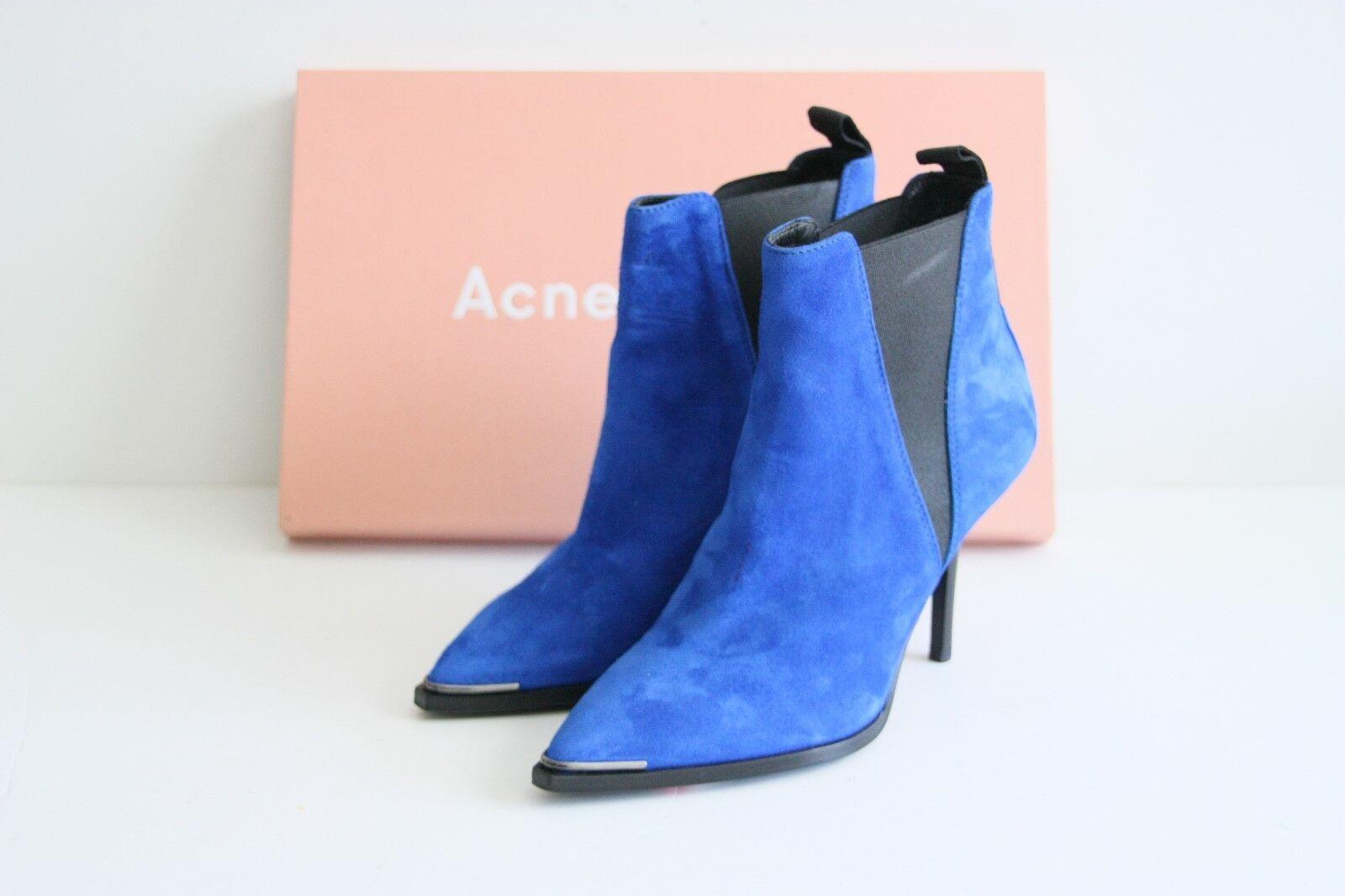 600 Brand New ACNE STUDIOS JENS Indigo Suede Ankle Booties 35 / 5